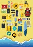 Плоский комплект значка перемещения рюкзака на летнем отпуске Стоковое Изображение