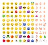 Плоский комплект значка смайлика emoji стиля Стоковые Изображения