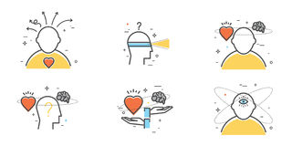 Плоский комплект дизайна интуиции, проницательности, превидения, выбора иллюстрация штока
