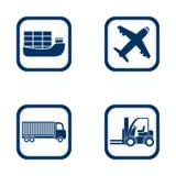 Плоский комплект импорта экспорта значков дизайна Стоковая Фотография
