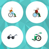 Плоский комплект инвалидов значка зрелищ, кресло-коляскы, оборудования и других объектов вектора Также включает с ограниченными в Стоковое Изображение