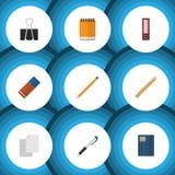Плоский комплект инструмента значка Notepaper, чертегного инструмента, карандаша и других объектов вектора Также включает файл, п Стоковое фото RF