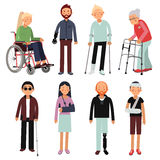 Плоский комплект иллюстрации стиля люди с ограниченными возможностями в различных представлениях Изображения вектора изолированны Стоковые Изображения