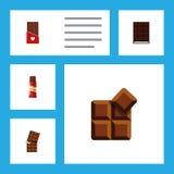 Плоский комплект помадки значка шоколада, какао, десерта и других объектов вектора Также включает Confection, сформированный, сла Стоковая Фотография RF