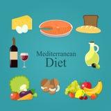 Плоский комплект продуктов среднеземноморской диеты также вектор иллюстрации притяжки corel Стоковое Изображение RF