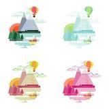 Плоский красочный ландшафт Горы, воздушный шар, корабль Стоковая Фотография