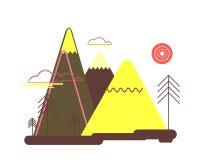 Плоский красочный ландшафт Природа, горы, деревья Стоковое Изображение