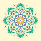 Плоский круглый декоративный орнамент Стоковая Фотография