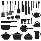 Плоский кухонный стол для варить в векторе дома Стоковая Фотография RF