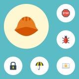 Плоский дорожный знак значков, защитный шлем, вирус и другие элементы вектора Комплект выхлопатывать плоским символам значков так Стоковая Фотография RF