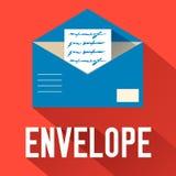 Плоский открытый дизайн конверта также вектор иллюстрации притяжки corel Стоковое Изображение