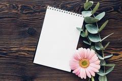 Плоский пинк положения цветет и дневник на деревянной предпосылке, взгляд сверху Насмешка вверх Стоковые Изображения RF