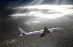 Плоский принимать в небо над морем Стоковая Фотография RF