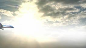 Плоский проходить через небо видеоматериал