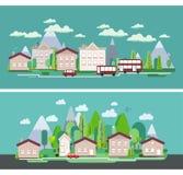 Плоский плакат сети туризма ландшафта природы дизайна Стоковое фото RF