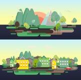 Плоский плакат сети vikend туризма ландшафта природы дизайна Стоковое Фото