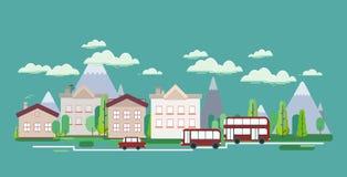 Плоский плакат сети vikend туризма ландшафта природы дизайна Стоковые Фото