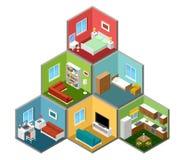 Плоский равновеликий интерьер дома 3d иллюстрация вектора
