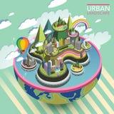 Плоский равновеликий симпатичный городской ландшафт 3d бесплатная иллюстрация