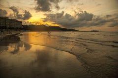 Плоский рассвет моря стоковые фотографии rf