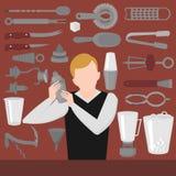 Плоский смешивать, отверстие и гарнируя бармена инструменты Шейкер оборудования бармена, консервооткрыватель, смешивая стекла иллюстрация вектора