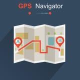 Плоский, стиль предпосылки GPS Карта навигатора вектор Стоковые Изображения