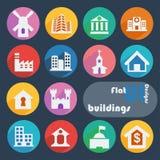Плоский установленный значок дизайна - здания Стоковые Фото