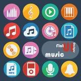 Плоский установленный значок дизайна - музыка Стоковые Изображения RF