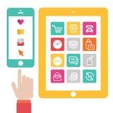 Плоский ходить по магазинам дизайна онлайн Стоковое фото RF