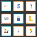 Плоский цветочный горшок значков, ось, грабл и другие элементы вектора Комплект значков садоводства плоских Стоковые Изображения