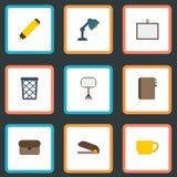 Плоский чемодан значков, Whiteboard, Highlighter и другие элементы вектора Комплект символов значков места для работы плоских так Стоковая Фотография RF