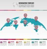 Плоский шаблон карты мира глобуса infographic с положением m номера Стоковое фото RF