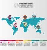 Плоский шаблон карты мира infographic с метками указателя номера Стоковое фото RF