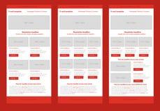 Плоский шаблон красного цвета информационого бюллетеня стиля Стоковое Фото