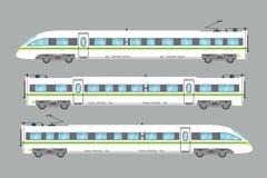 Плоским изолированная быстроходным поездом иллюстрация вектора срочная железнодорожная Стоковое Изображение RF