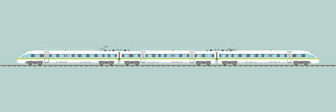Плоским изолированная быстроходным поездом иллюстрация вектора срочная железнодорожная Стоковые Изображения