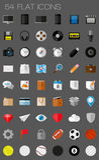 54 плоских установленных значки и пиктограммы Стоковые Изображения RF