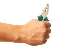Плоскогубцы в деятеля руки Стоковое Фото