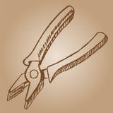 плоскогубцы doodle вектор иллюстрации эскиза стиля нарисованный рукой Стоковые Фотографии RF