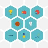 Плоское вознаграждение значков, корзина, шайба и другие элементы вектора Комплект значков фитнеса плоских Стоковое Изображение