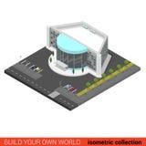 Плоское здание ночного клуба мола развлечений кино вектора 3d Стоковое Изображение RF