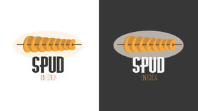 Плоское изображение логотипа шаржа для зажаренных обломоков на ручке Стоковая Фотография