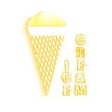 Плоское мороженое значка с тенью Стоковые Изображения RF