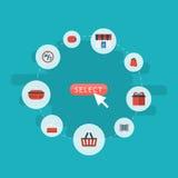 Плоское портмоне значков, сумка, поддержка и другие элементы вектора Комплект ходя по магазинам плоских символов значков также вк Стоковые Изображения RF