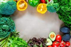 Плоское положение свежих овощей с космосом экземпляра Стоковая Фотография