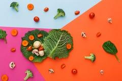 Плоское положение сырцовых овощей на абстрактной предпосылке Стоковые Фотографии RF