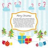 Плоское рождество вектора Scrapbooking стиля Стоковое Изображение