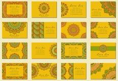 Плоское собрание визитной карточки мандалы Иллюстрация вектора