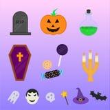 Плоское собрание значков и символов хеллоуина Стоковая Фотография