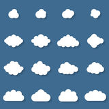 Плоское собрание cloudscapes дизайна Стоковые Изображения RF